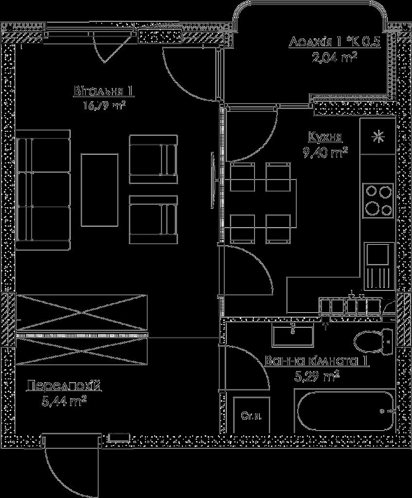 План квартири KV_2_1K2_1_1_2