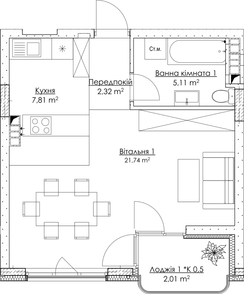 Plan of the apartment KV_6_1K5_1_1_6