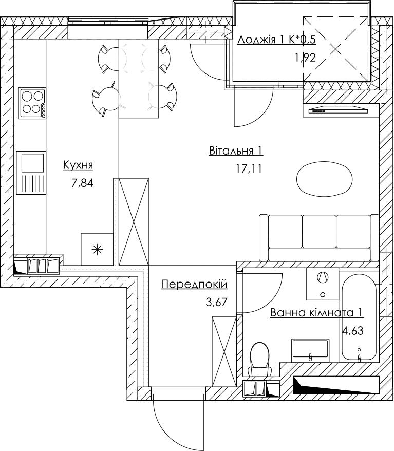 План квартири KV_1_1K1_1_1_1