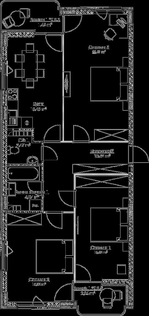 Plan of the apartment KV_7_3K1_1_1_7