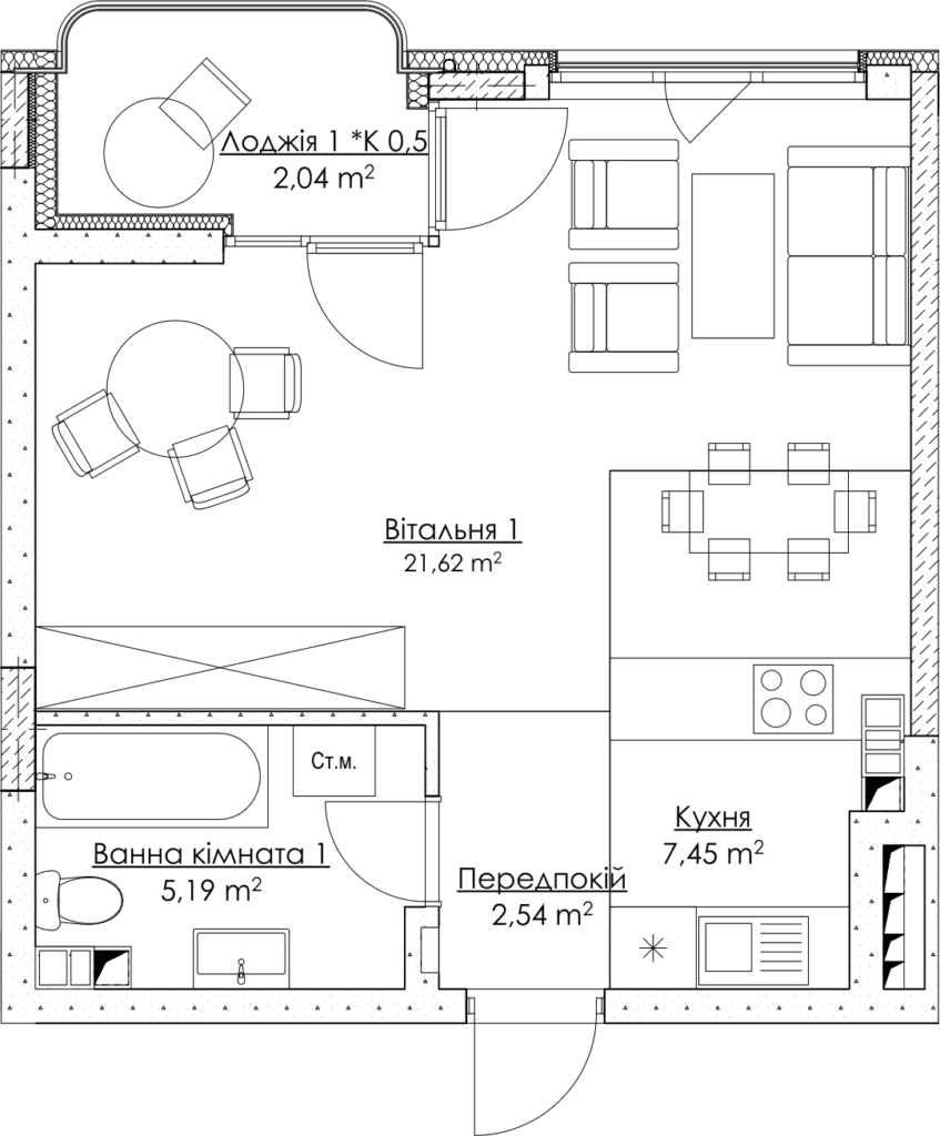 Plan of the apartment KV_8_1K6_1_1_8