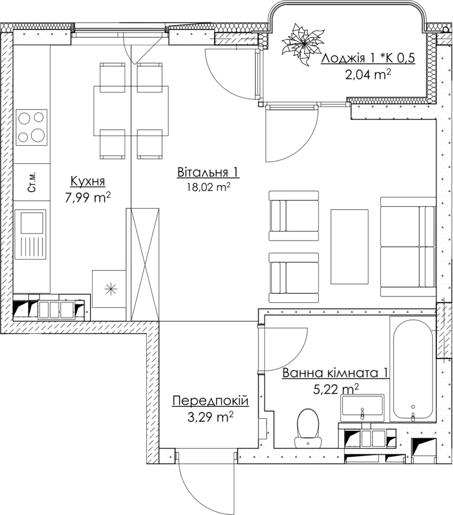 Plan of the apartment KV_1_1K1_1_1_1