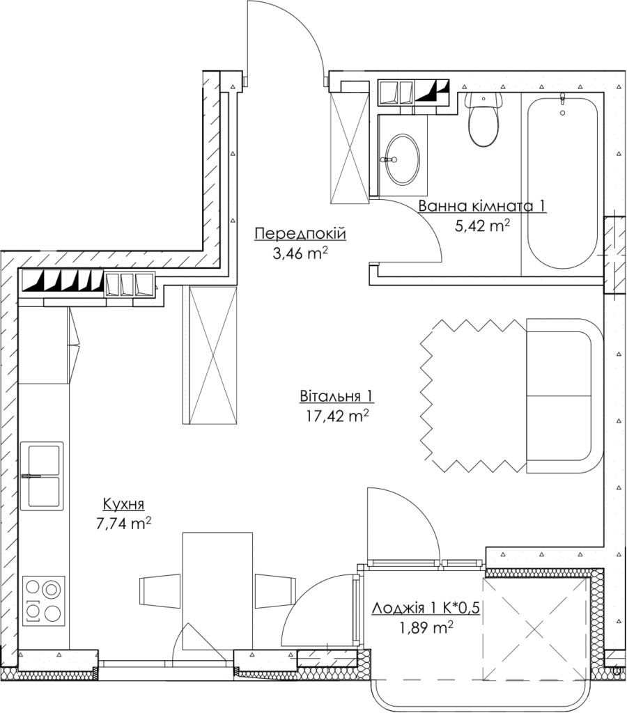 Plan of the apartment k1Г