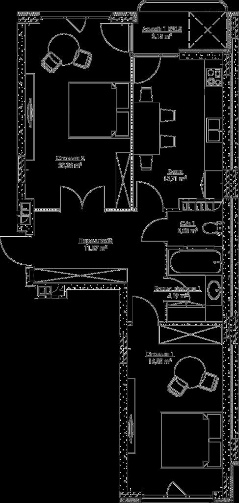 План квартири k2Б