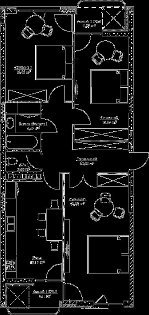Plan of the apartment k3В