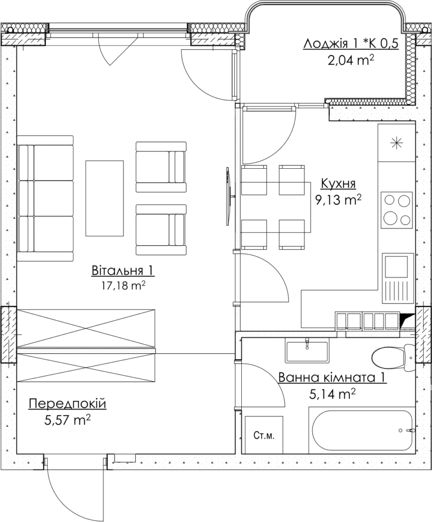 Plan of the apartment KV_2_1K2_1_1_2