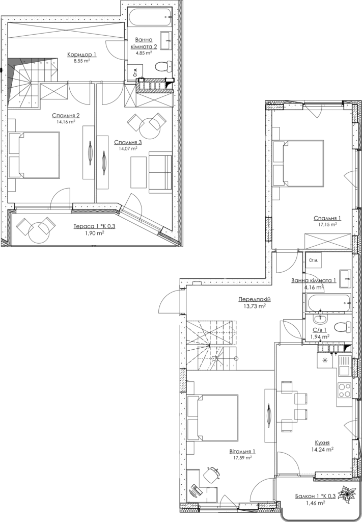 Plan of the apartment KV_37_2K4_1_1_5