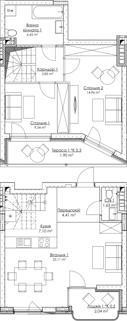 Plan of the apartment KV_39_5K1_1_1_7