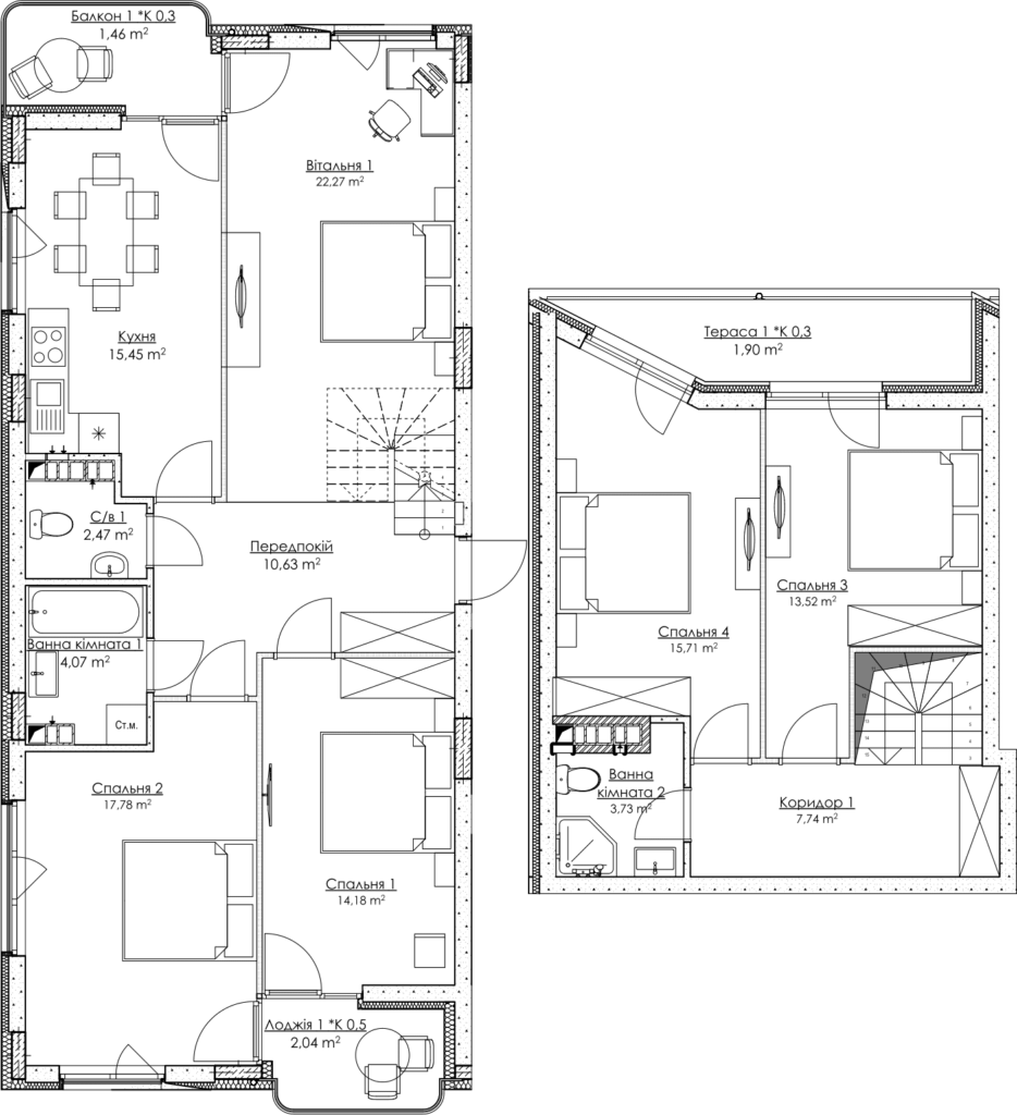 Plan of the apartment KV_33_2K2_1_1_1
