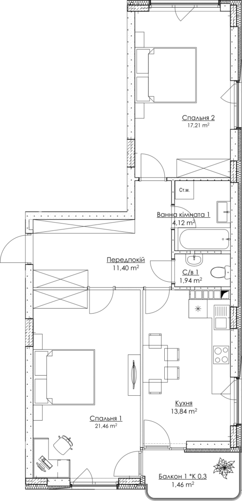 Plan of the apartment KV_3_2K1_1_1_3