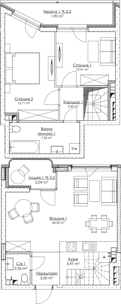 Plan of the apartment KV_34_3K2_1_1_2