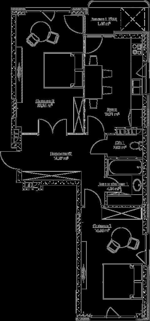 План квартиры k2В