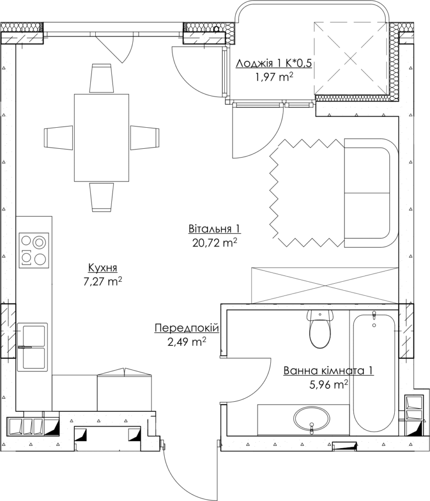 Plan of the apartment k2-2