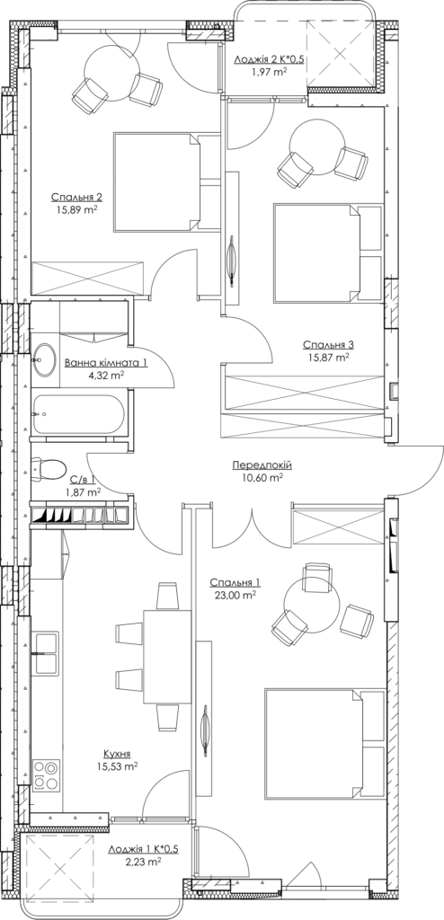 Plan of the apartment k1-2