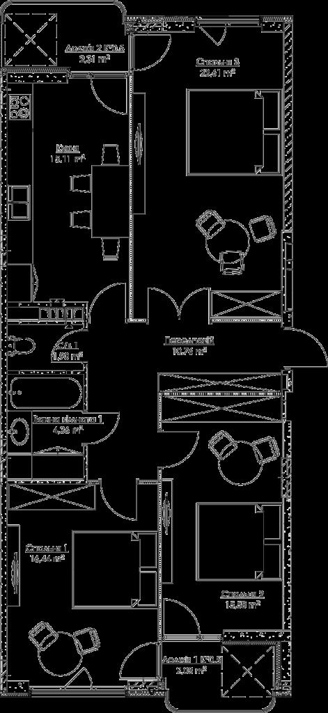 Plan of the apartment KV_24_3v_2_2_8-1