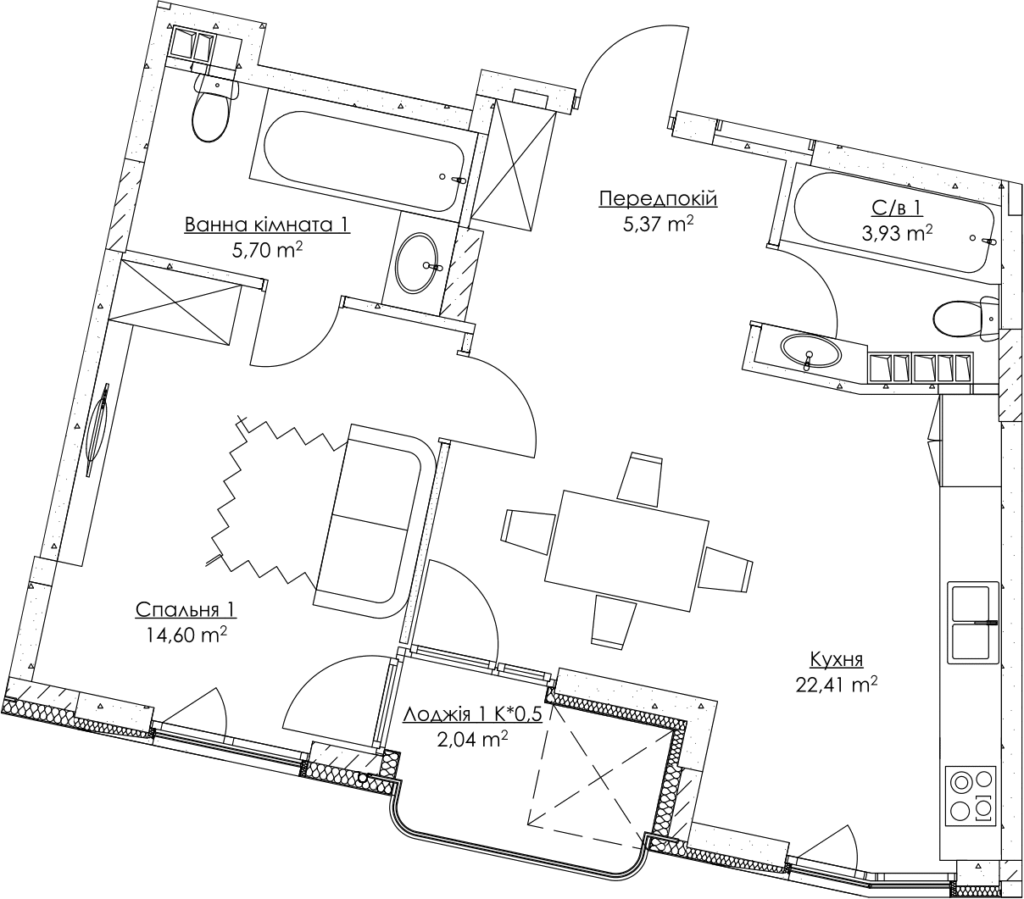 Plan of the apartment KV_3_1b_1_1_3-1