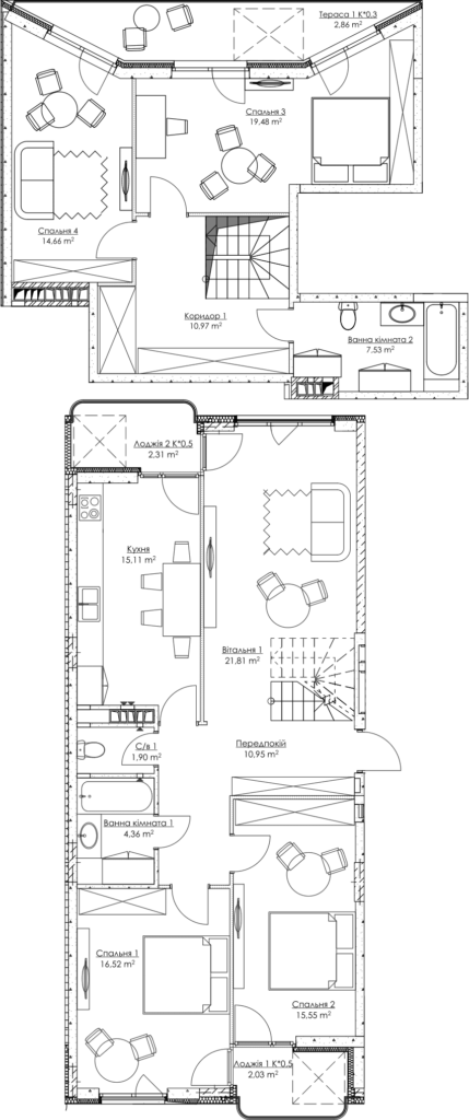 Plan of the apartment KV_40_5b_2_2_8-1