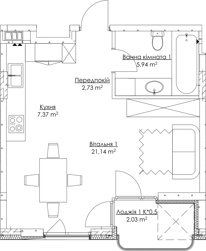Plan of the apartment KV_43_1zh_3_3_11-1