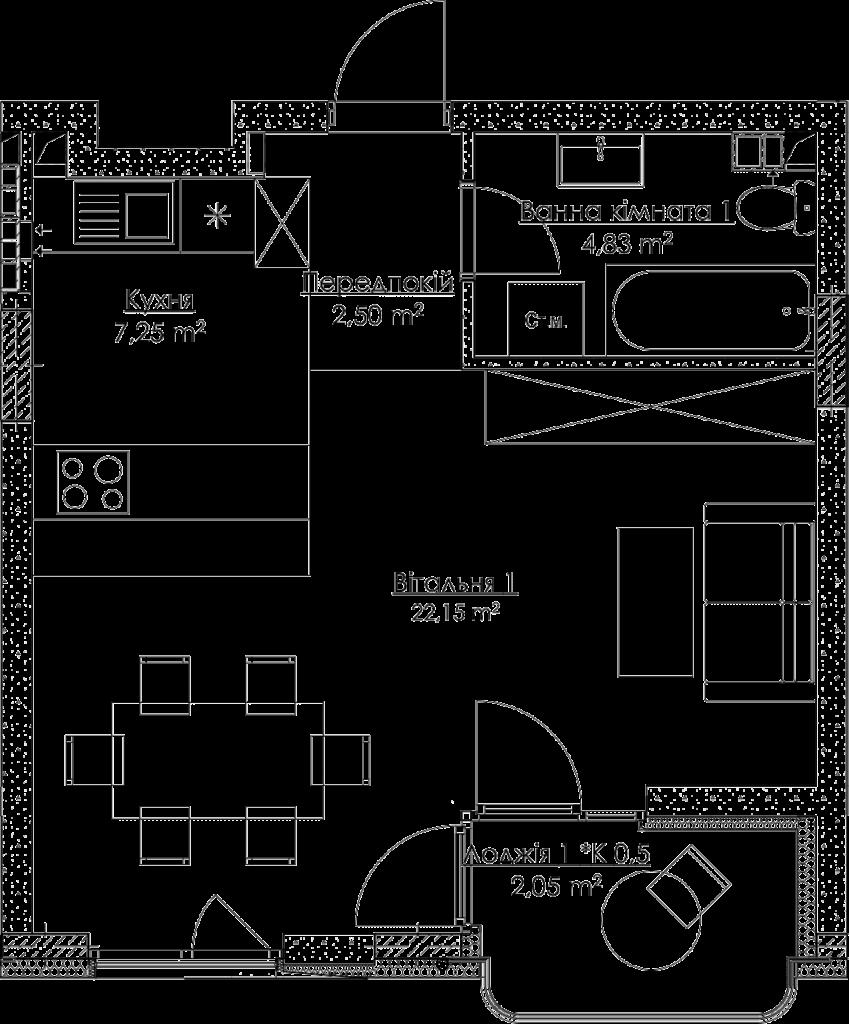Plan of the apartment КВ_12_1B