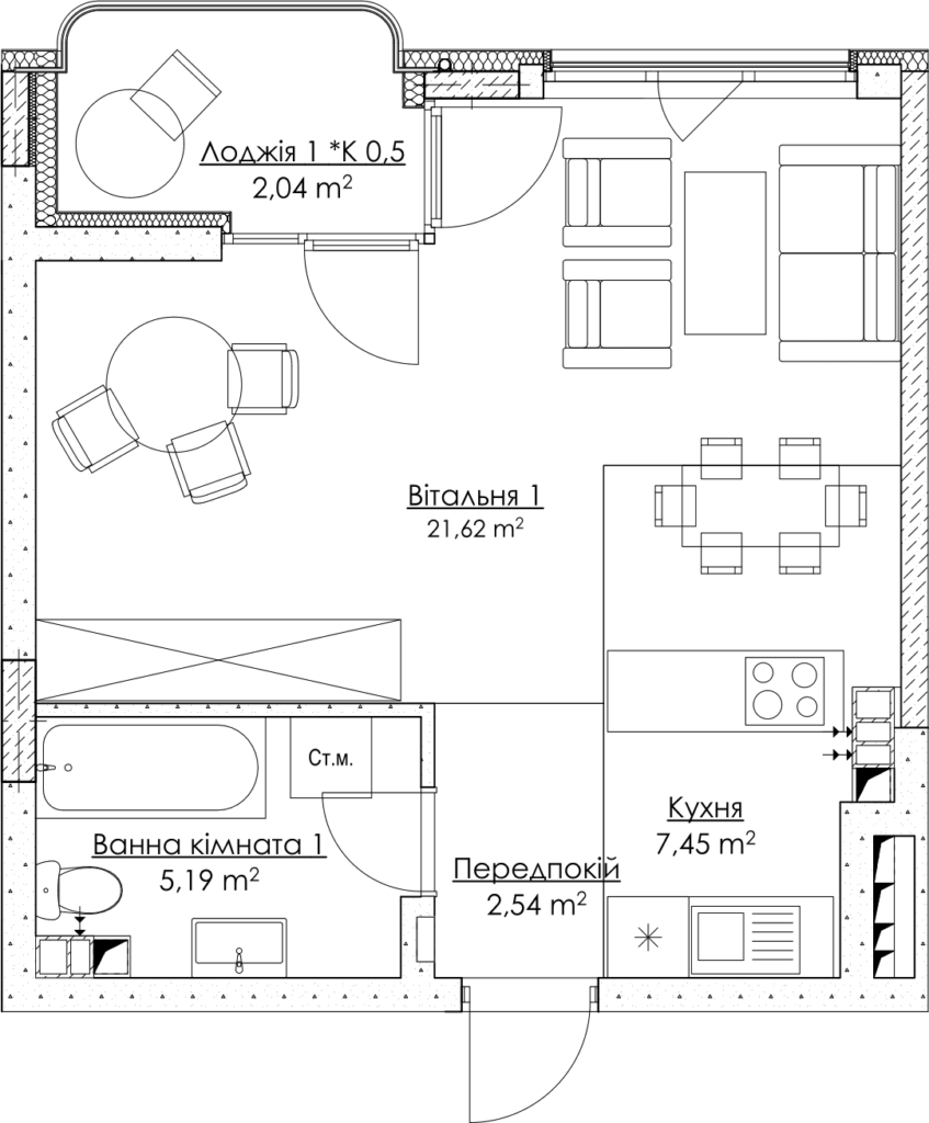 Plan of the apartment КВ_16_1E