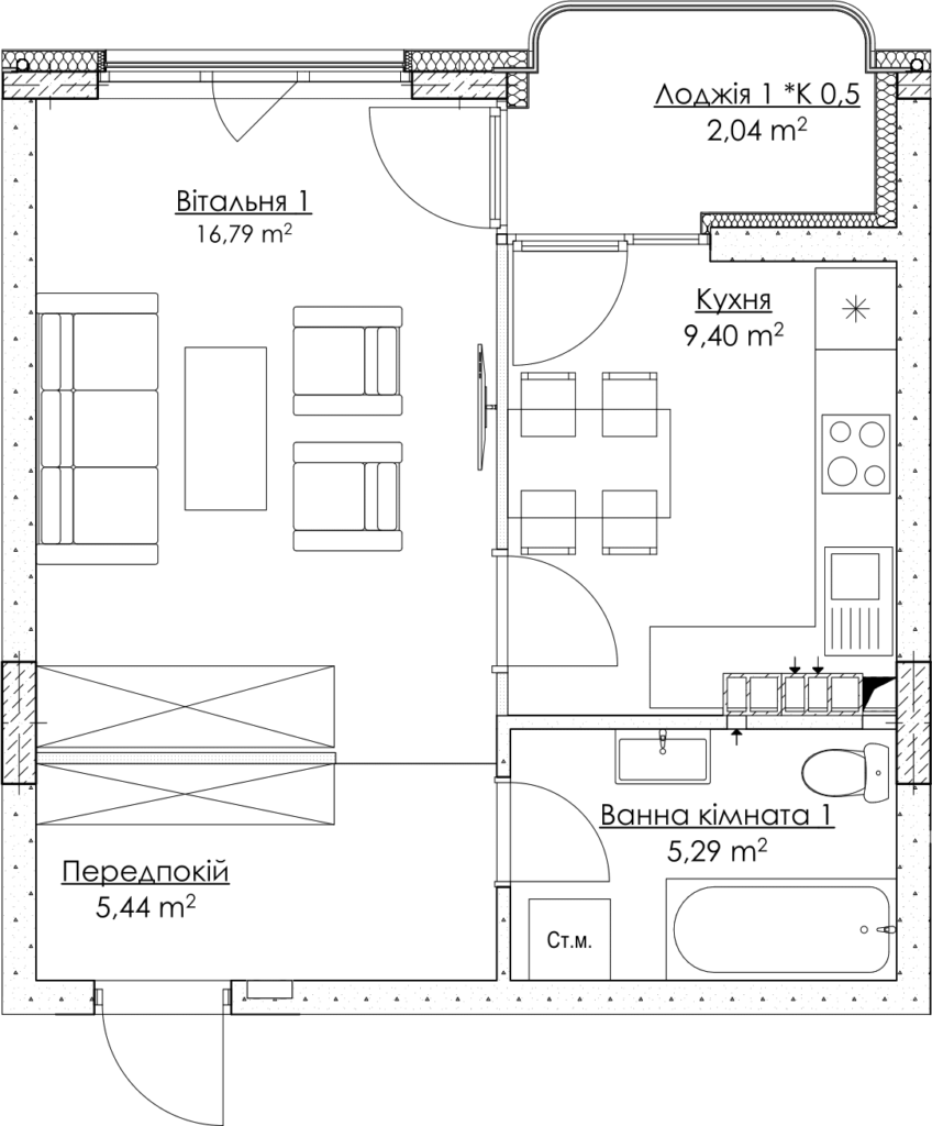 Plan of the apartment КВ_18_1Б