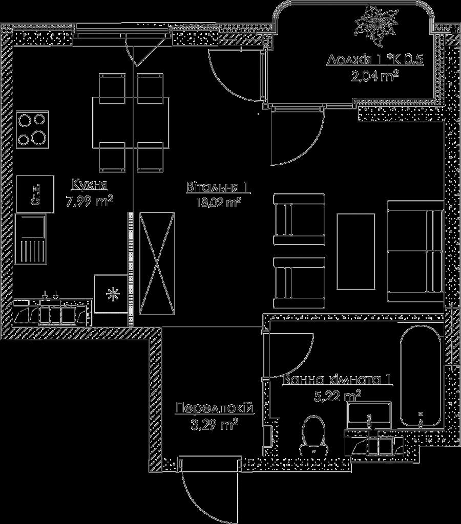 План квартири 1.1A