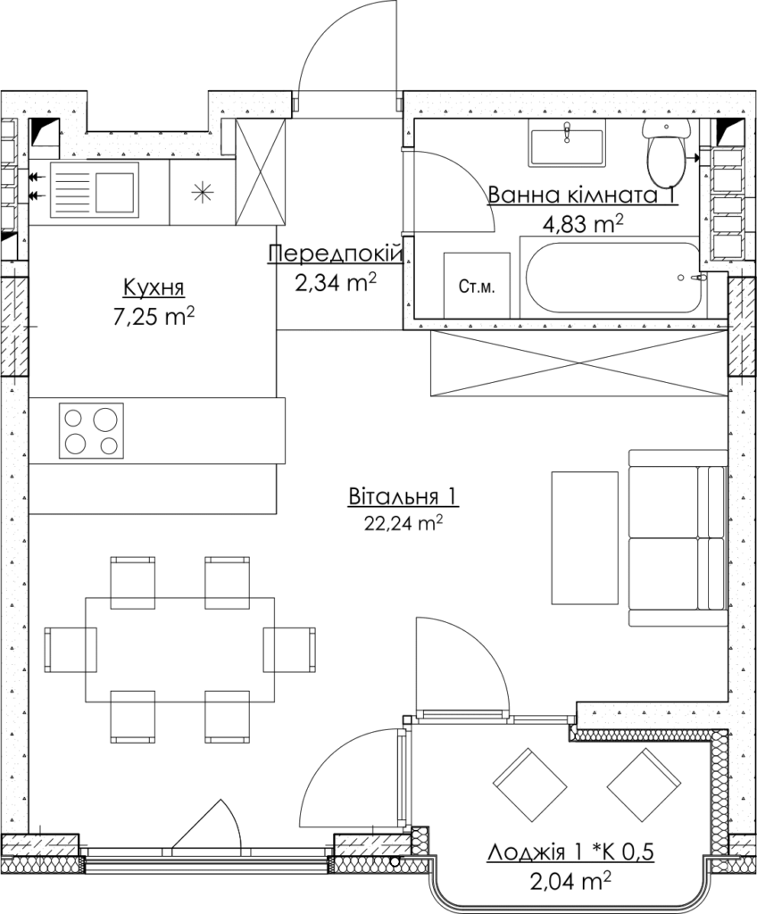 Plan of the apartment КВ_21_1Г
