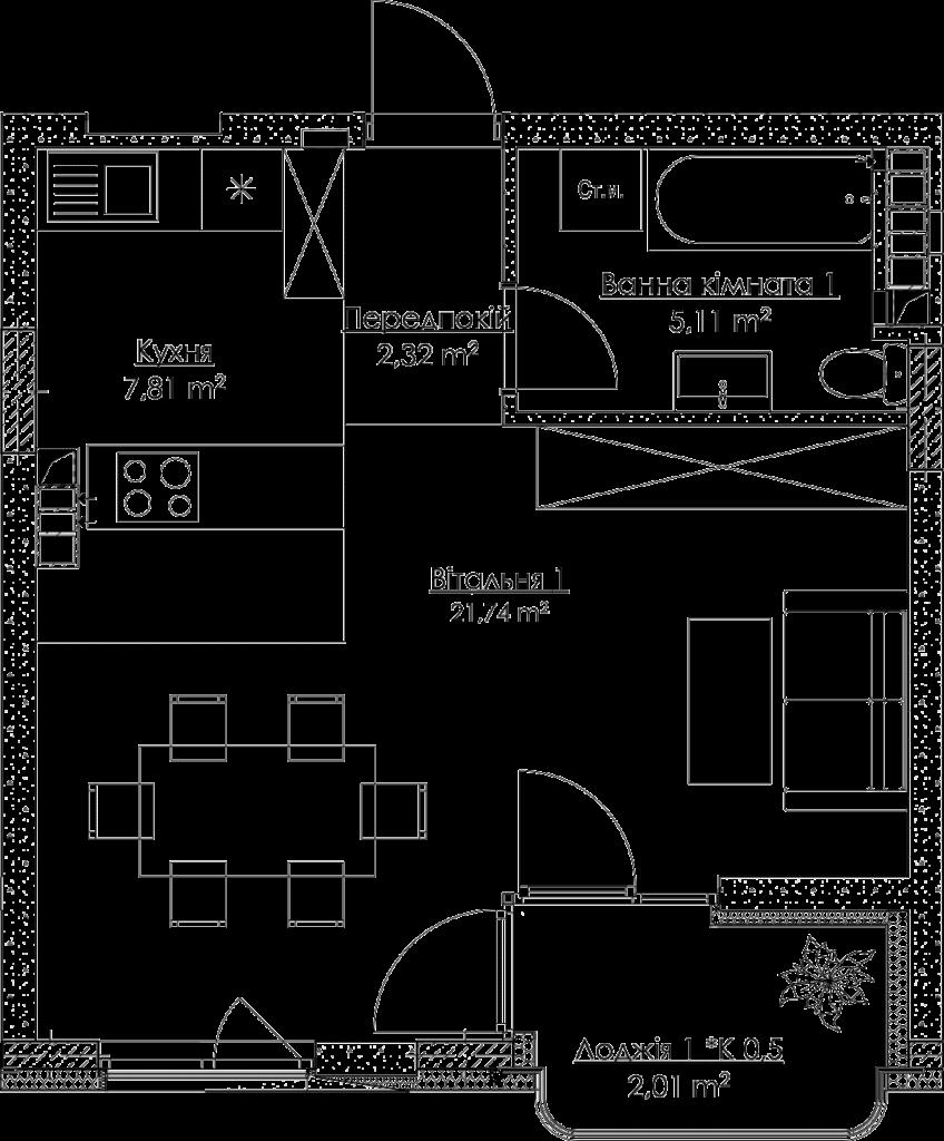План квартири КВ_22_1Д