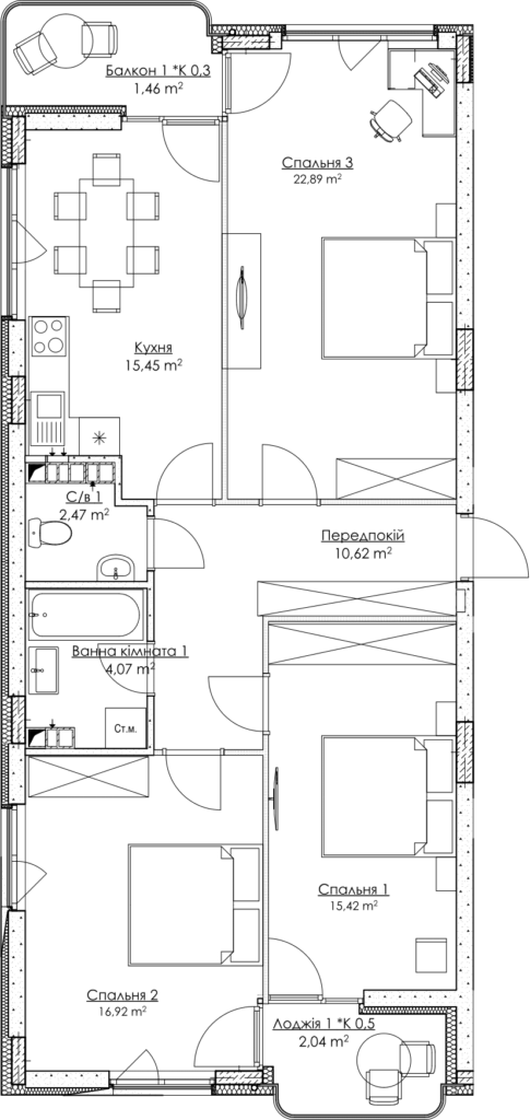 Plan of the apartment КВ_23_3A