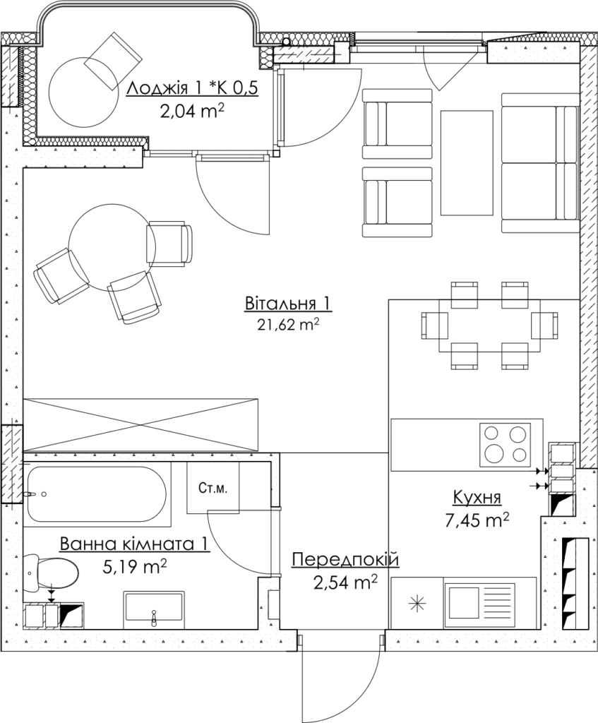 Plan of the apartment КВ_24_1E