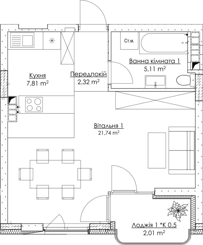 Plan of the apartment КВ_30_1Д
