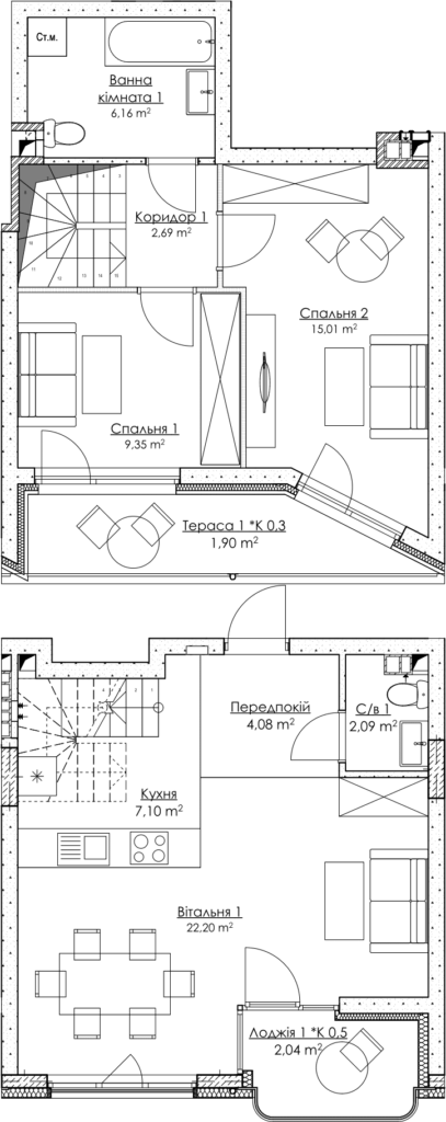 Plan of the apartment КВ_36_3B
