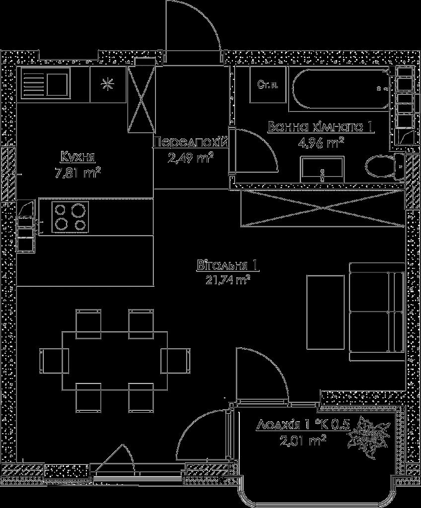 План квартиры 1.1Д