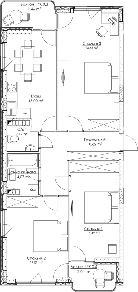 Plan of the apartment 3.1A