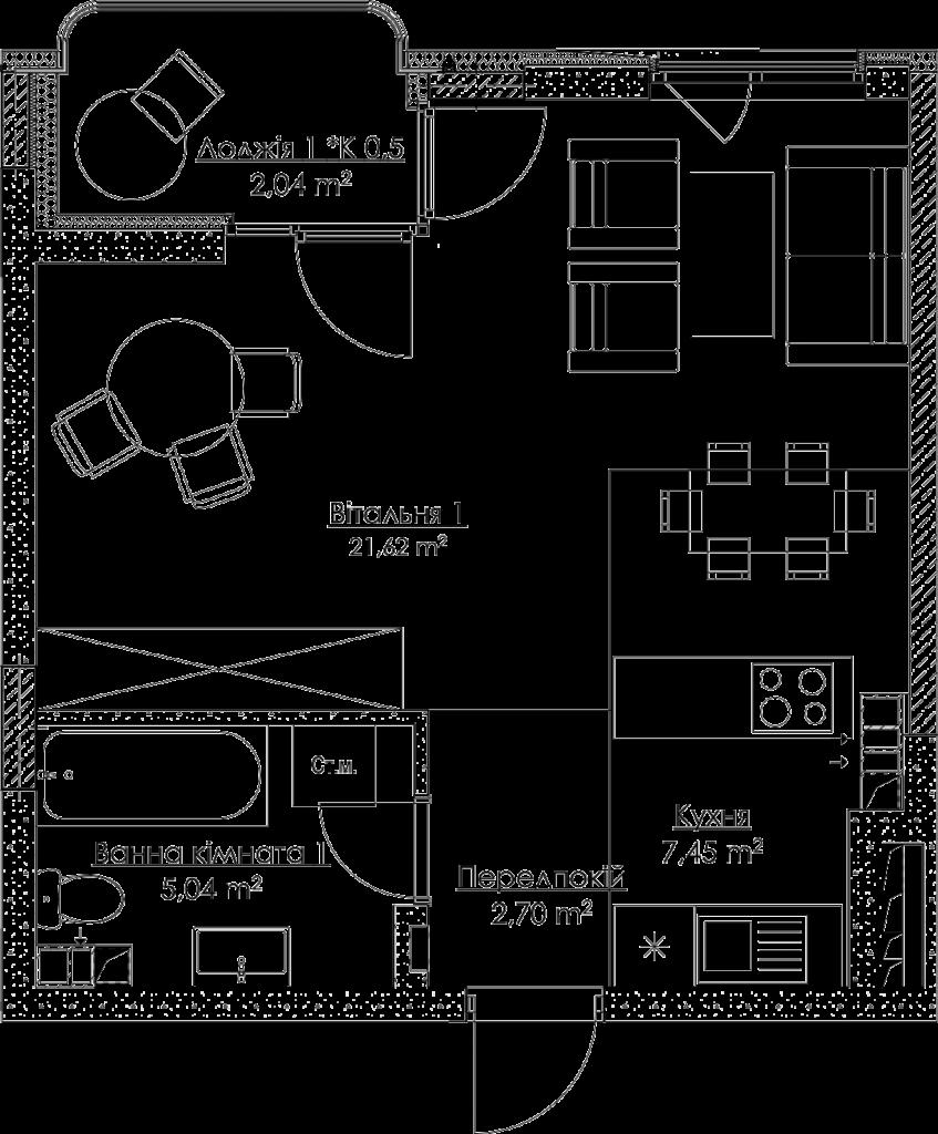 План квартири 1.1E