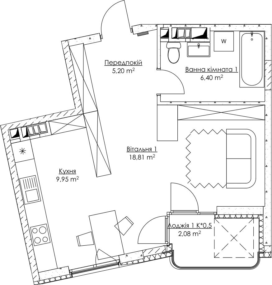Plan of the apartment KV_25_1d_1_2_6-1