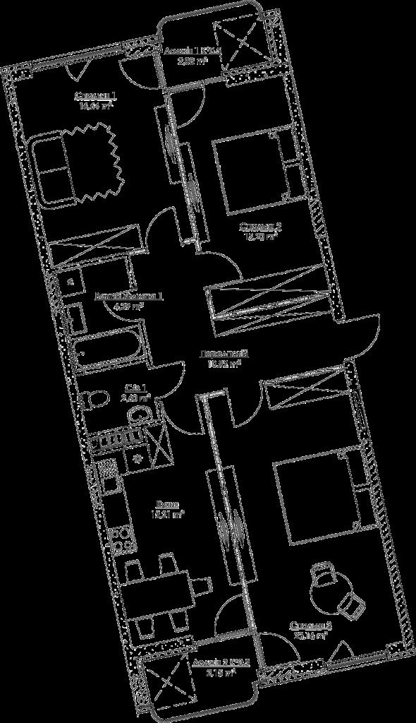 Plan of the apartment KV_28_3b_1_2_9-1