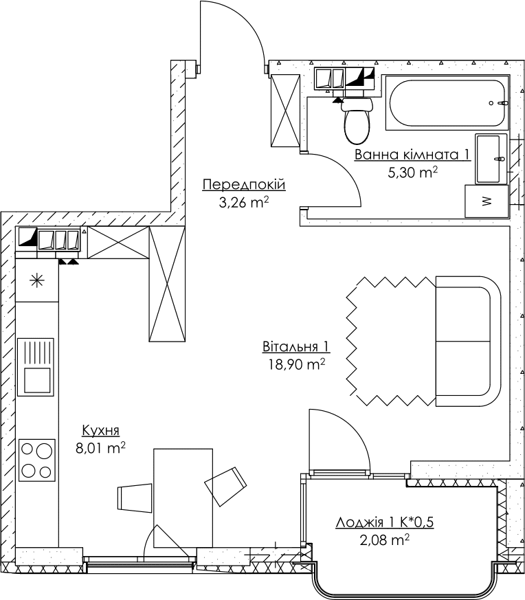 Plan of the apartment KV_45_1l_2_3_10-1