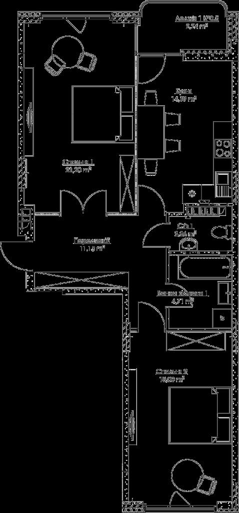 План квартири KV_46_2v_2_3_11-1