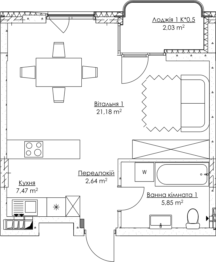 Plan of the apartment KV_47_1m_2_3_12-1