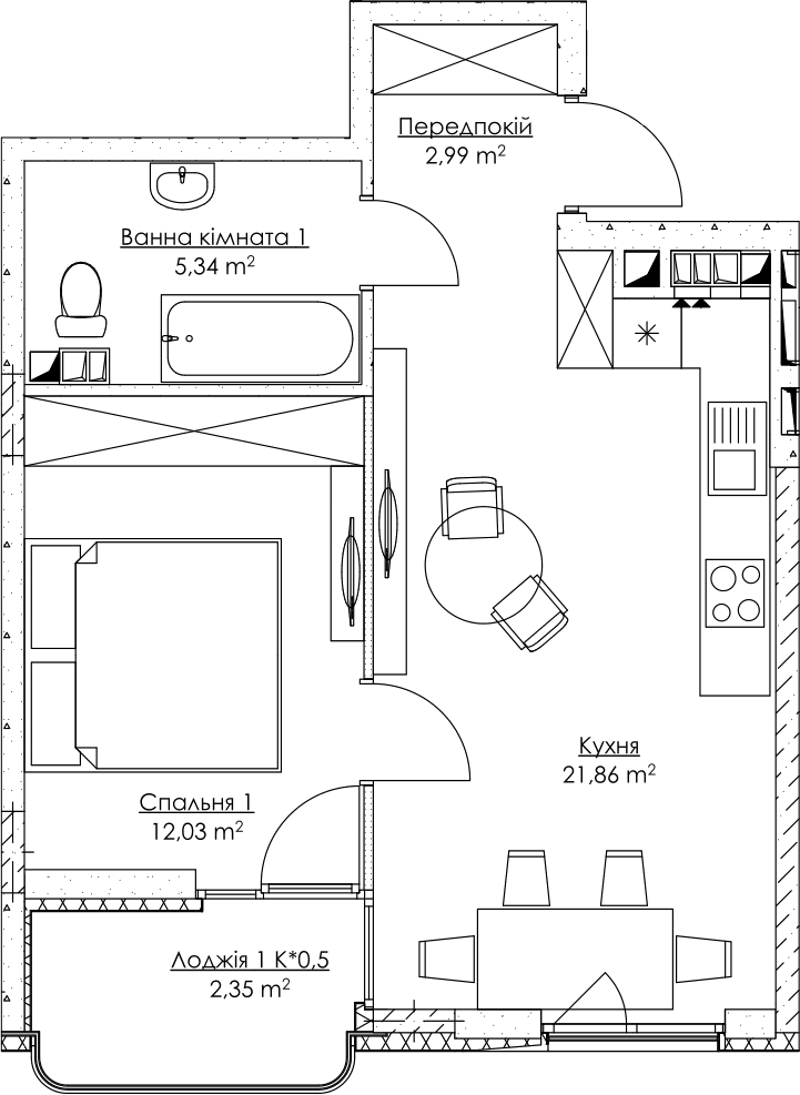 Plan of the apartment KV_49_1n_2_3_14-1