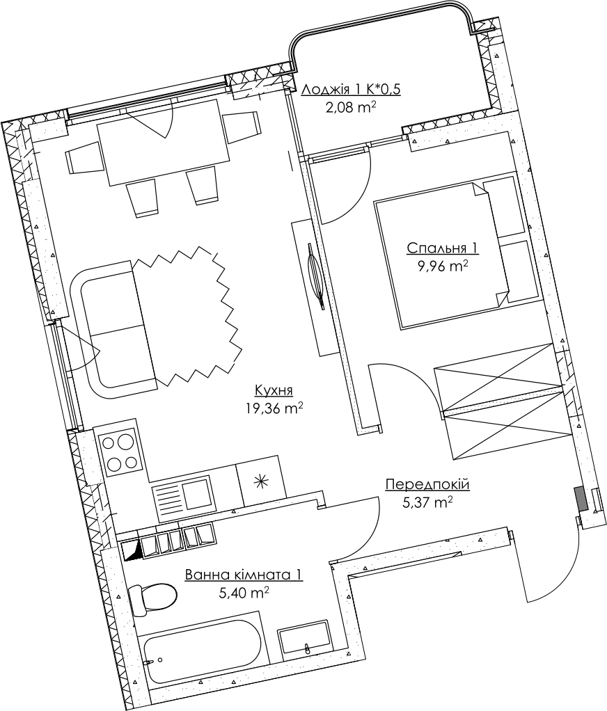 Plan of the apartment KV_4_1v_1_1_4-1