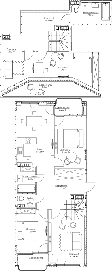 Plan of the apartment KV_68_5v_2_3_14-1