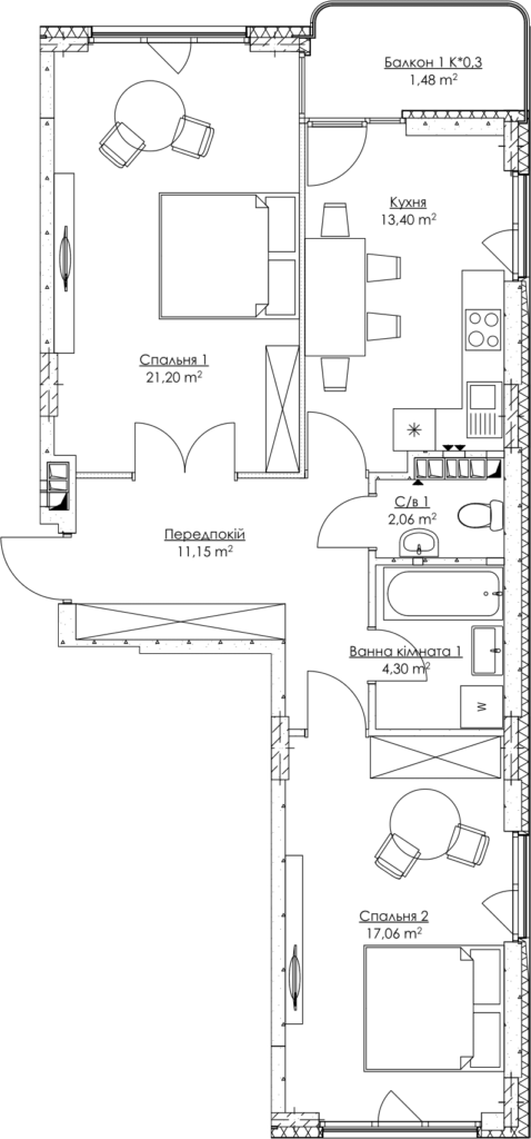 Plan of the apartment KV_70_2g_2_4_16-1