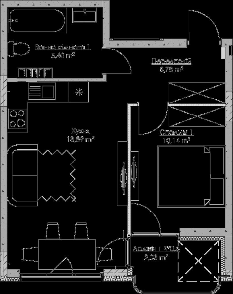 План квартири KV_52_1s_2_3_13-1