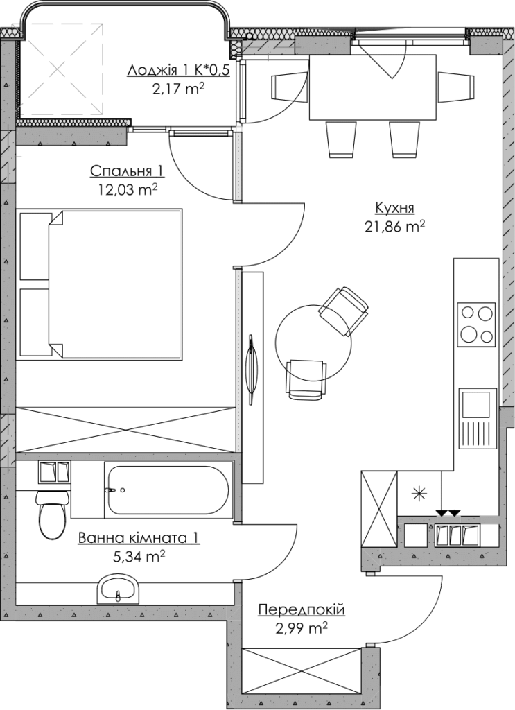 Plan of the apartment KV_53_1t_2_3_14-1