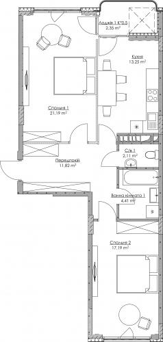 Plan of the apartment KV-10-2B-1-1-2