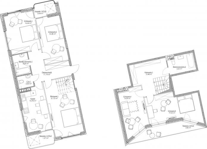 Plan of the apartment KV-20-5B-1-1-4