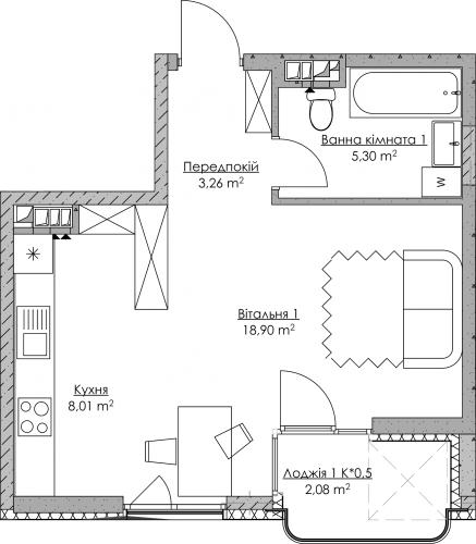 Plan of the apartment KV-31-1L-2-2-5