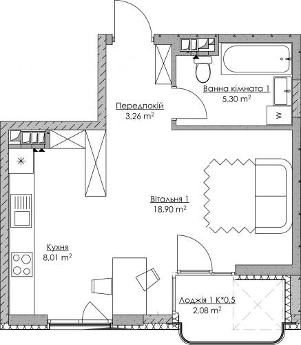 Plan of the apartment KV-36-1L-2-2-5